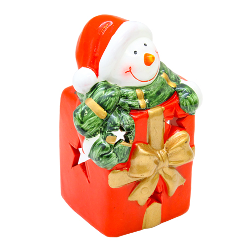 Deco Candela Snowmen Din Ceramica Rosie 8x7x12 Cm