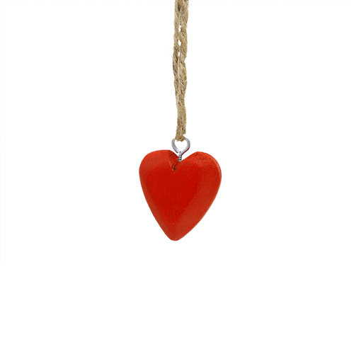 Deco Red Heart Din Lemn 4.5x2x6 Cm