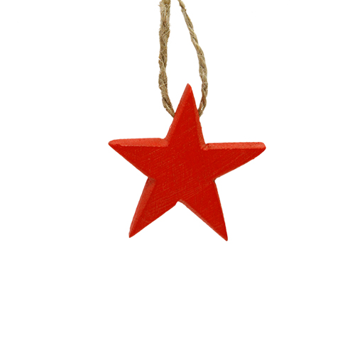 Deco Red Star Din Lemn 5.5cm