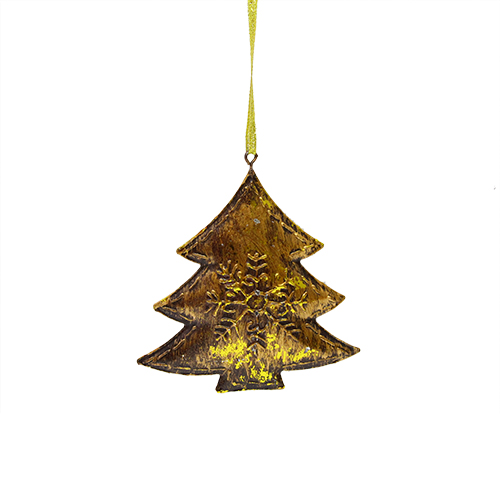 Decoratiune Christmas Tree Din Metal Auriu 12x13 C