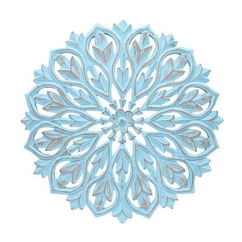 Decoratiune De Perete Din Lemn Albastru 50cm