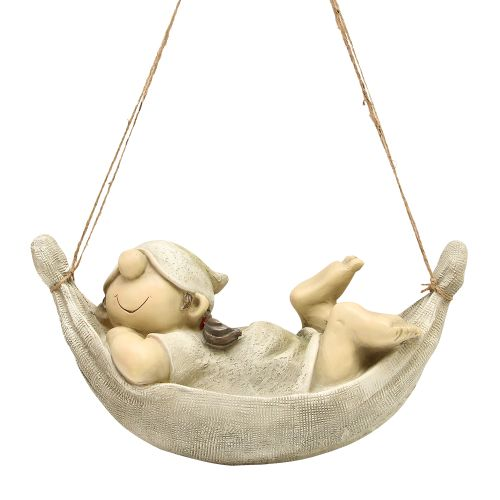 Decoratiune Fetita In Hamac Din Polirasina Gri