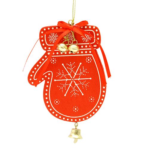 Decoratiune Manusa Din Lemn Rosu 8x12 Cm