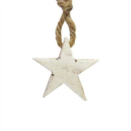 Decoratiune Star Din Lemn Alb 4x1 Cm