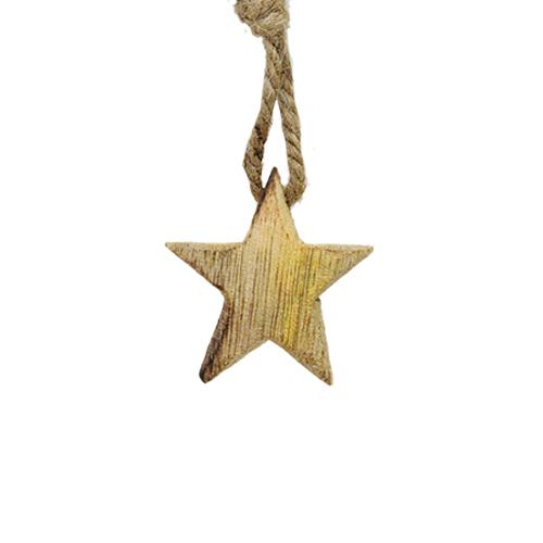 Decoratiune Star Din Lemn Natur 4x1 Cm