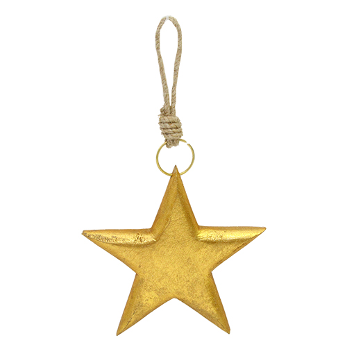 Decoratiune Winter Star Din Lemn Auriu 12 Cm