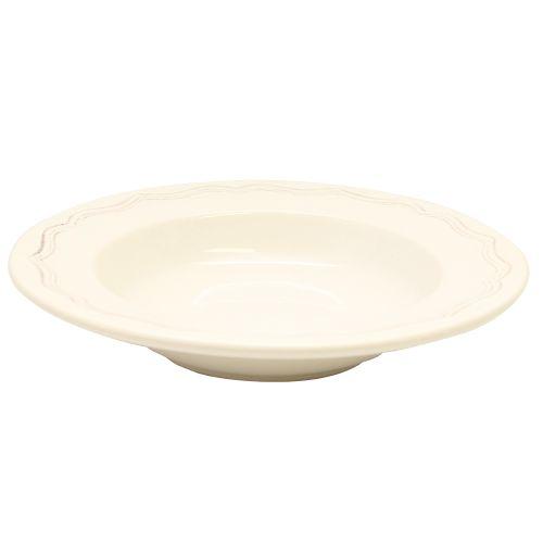 Farfurie Adanca Vintage Din Ceramica Crem 22.5 Cm