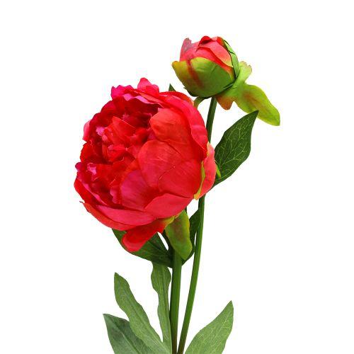 Floare Bujor Cu Boboc Fucsia 60 Cm