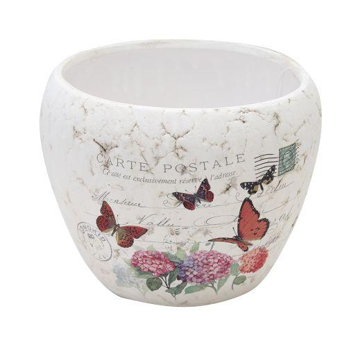 Ghiveci Butterfly Din Ceramica Alba 10cm