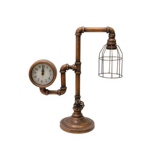 Lampa Cu Ceas Design Industrial Din Metal Cupru