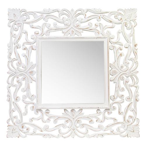 Oglinda Belezza Cu Rama Din Lemn Alb 90x90 Cm