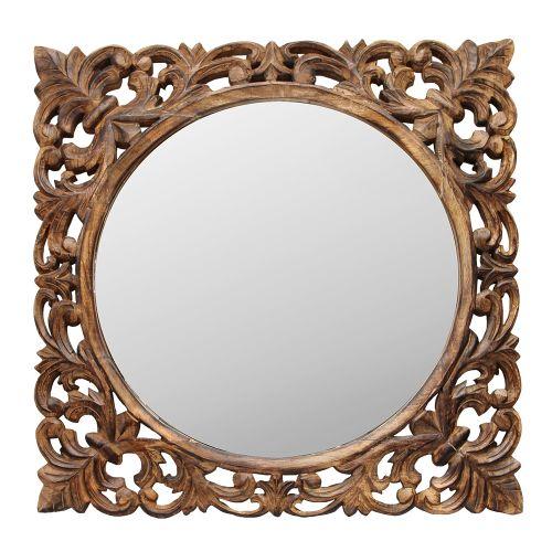 Oglinda Cu Rama Din Lemn Sculptat Maro 82x82 Cm