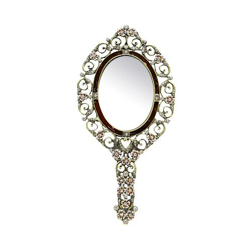 Oglinda De Mana Princess Din Metal Argintiu 11x23 Cm