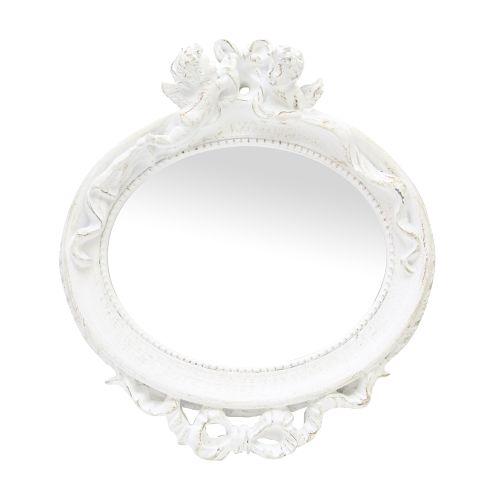 Oglinda Decorativa Cu Rama Din Polirasina Alba Cu Ingerasi