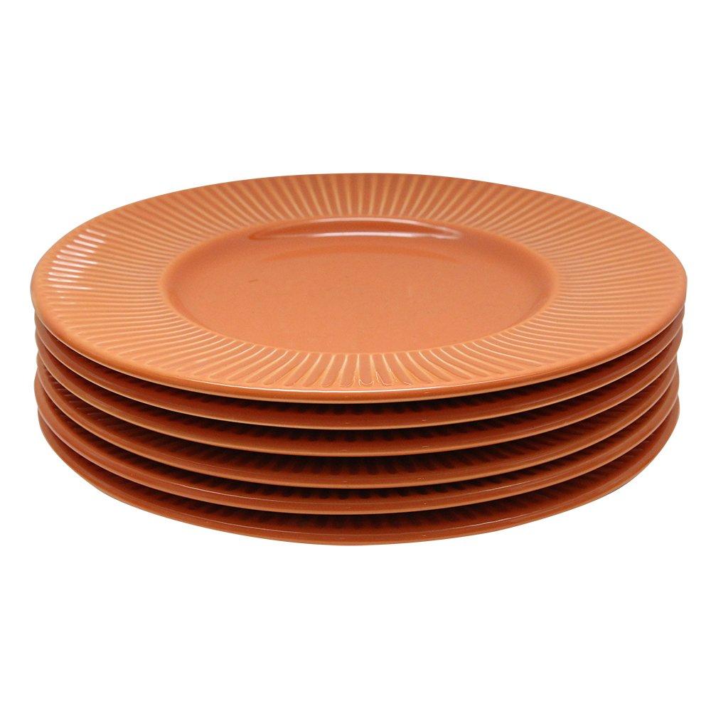 Pachet Sase Farfurii Desert Din Ceramica Portocalie Diametru 22 Cm
