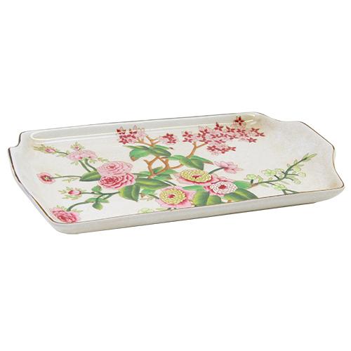 Platou Tropical Flowers Din Ceramica 32.5x19x3 Cm