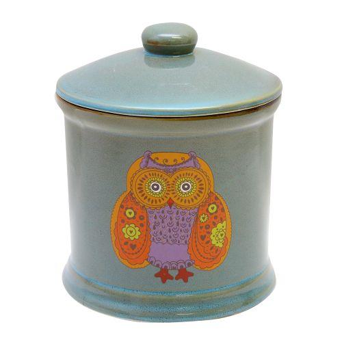Recipient Owls Din Ceramica Turcoaz 12 Cm
