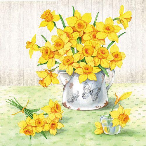 Servetele Narcise Trei Straturi Din Hartie 33x33 C