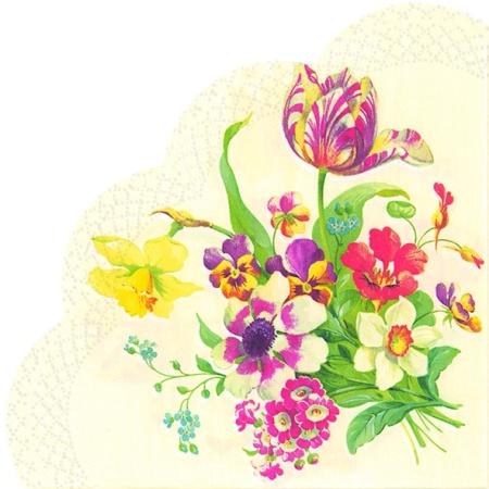 Servetele Rotunde Cu Model Floral De Primavara Cre