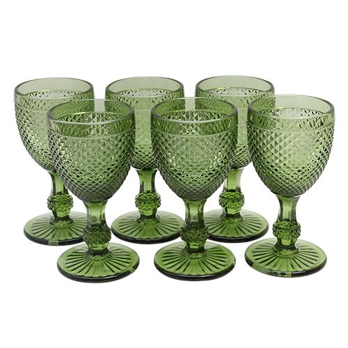 Set Cu Sase Pahare De Vin Green Charm 17 Cm
