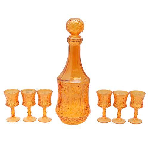 Set Cu Decantor Si 6 Pahare Din Sticla Portocalie