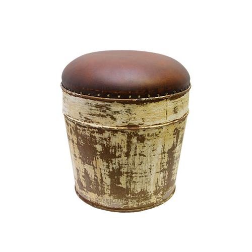 Taburet Vintage Din Piele Si Metal 38x40 Cm