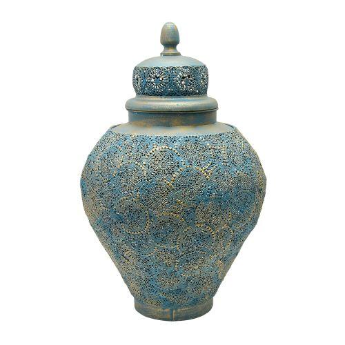 Vas Decorativ Cu Capac Din Metal Albastru 30x50 Cm