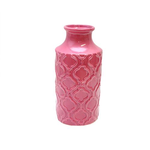 Vaza Flowery Din Ceramica Roz 12x26 Cm