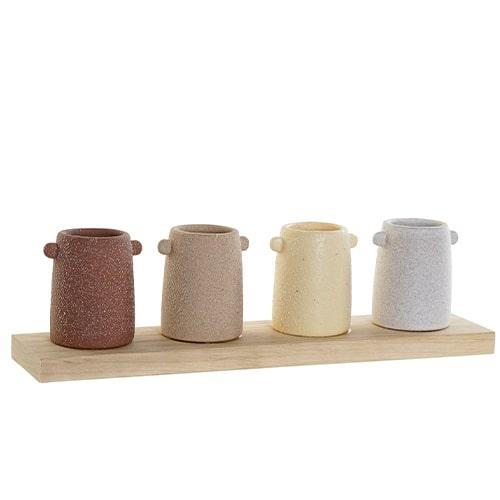 4 vaze decorative din dolomita pe suport din lemn 31x7x9 cm chicville 2021
