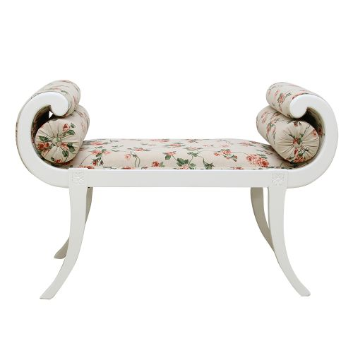 Bancheta Madame Coquette din lemn alb cu tapiterie florala 100x42x70 cm