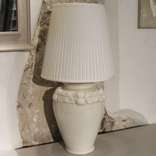Picior de veioza din ceramica alba cu frunze 45 cm chicville 2021