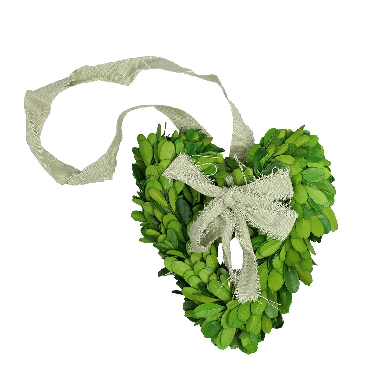 Coronita decorativa inima din buxus verde 20 cm( 391632)