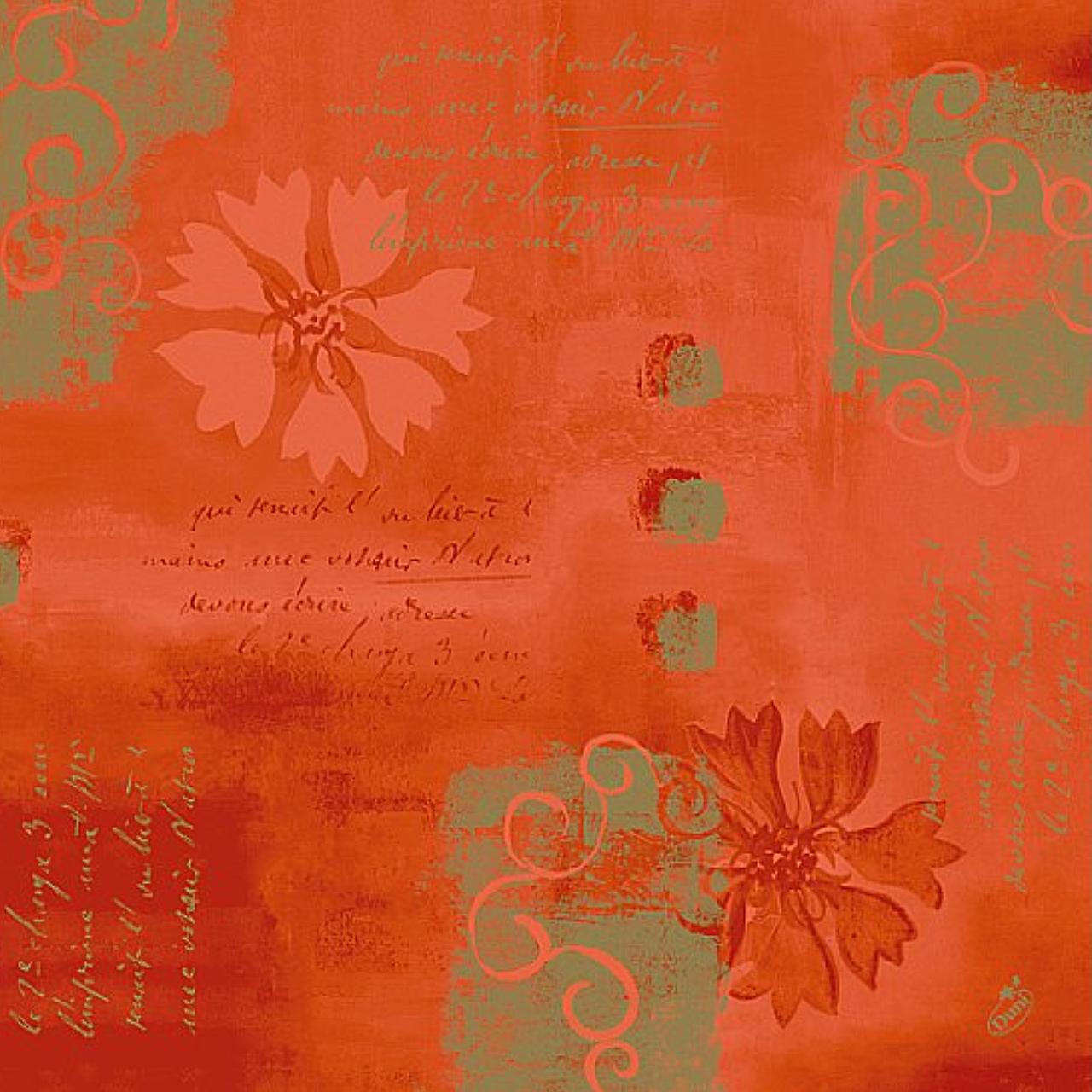 Servetele decorative Salento din hartie portocalie cu flori 40 cm chicville 2021