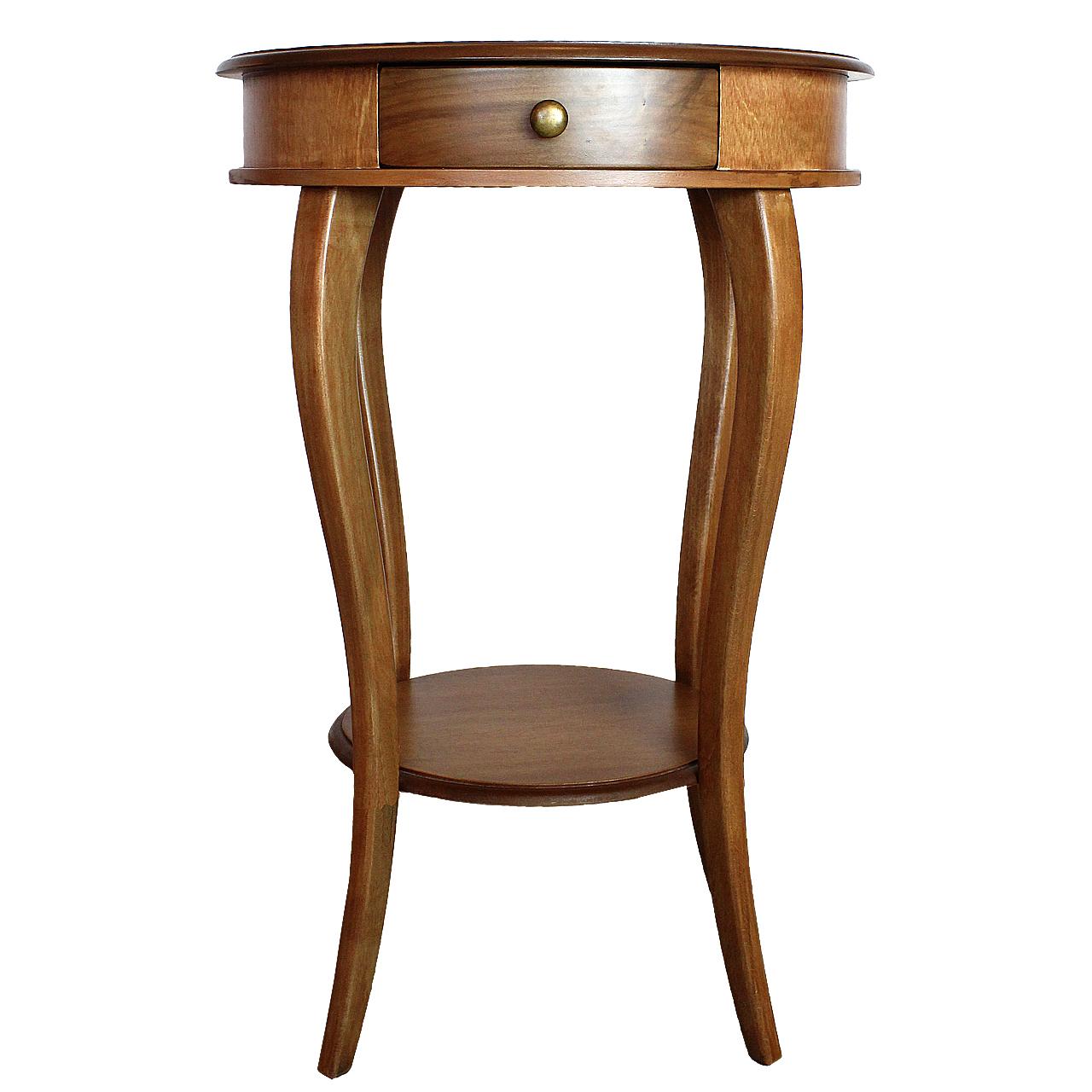 Masuta rotunda Belle din lemn maro 75x50 cm