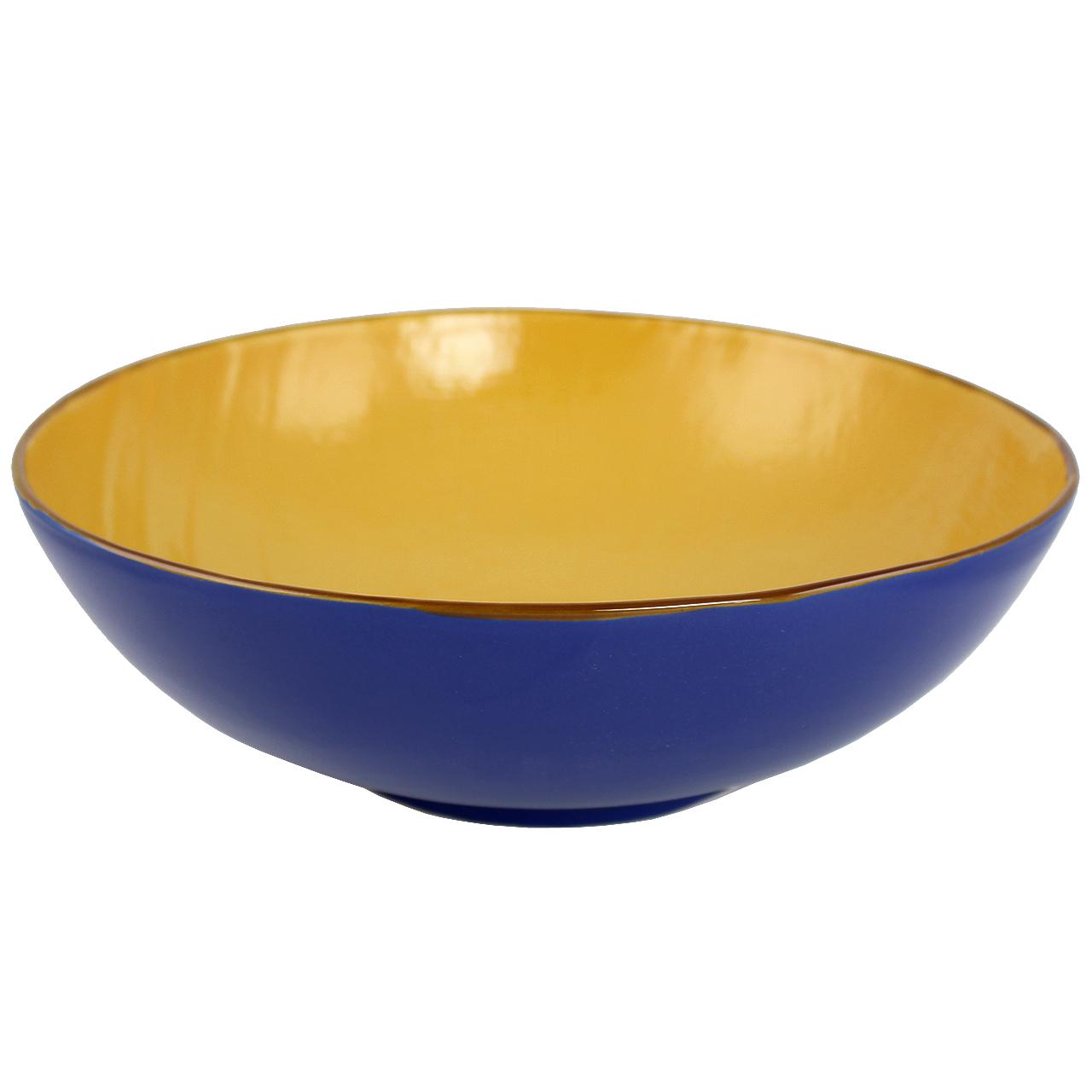 Bol din ceramica albastra cu galben 32 cm chicville 2021