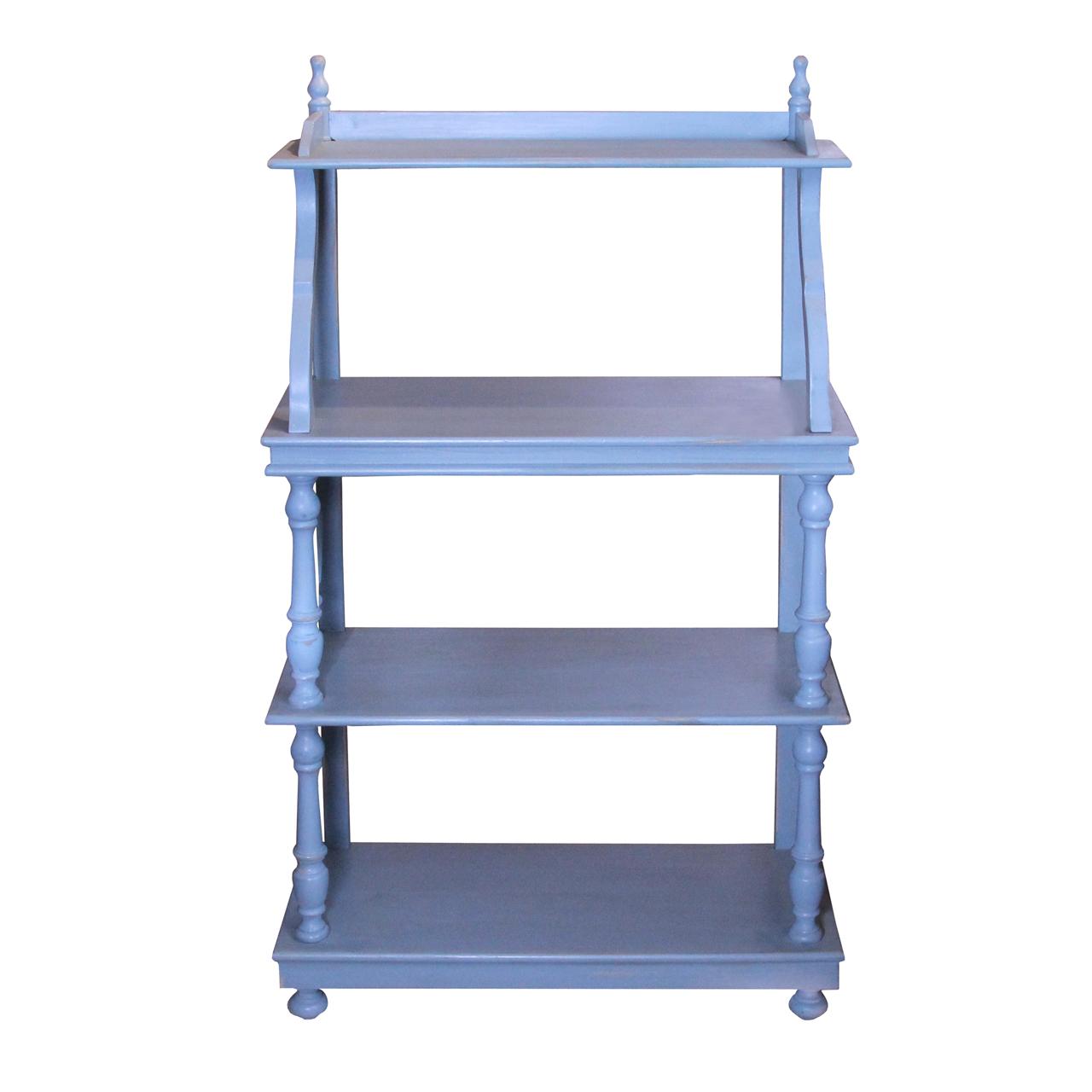 Etajera Felicia din lemn albastru 70x30x123 cm chicville 2021