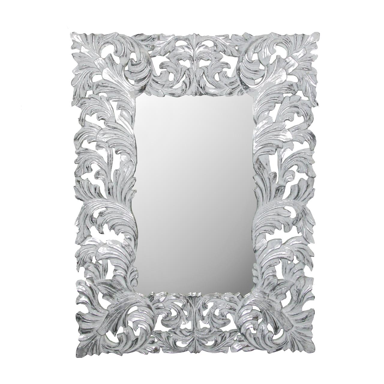 Oglinda cu rama alba cu argintiu 90x120 xm( 391794)