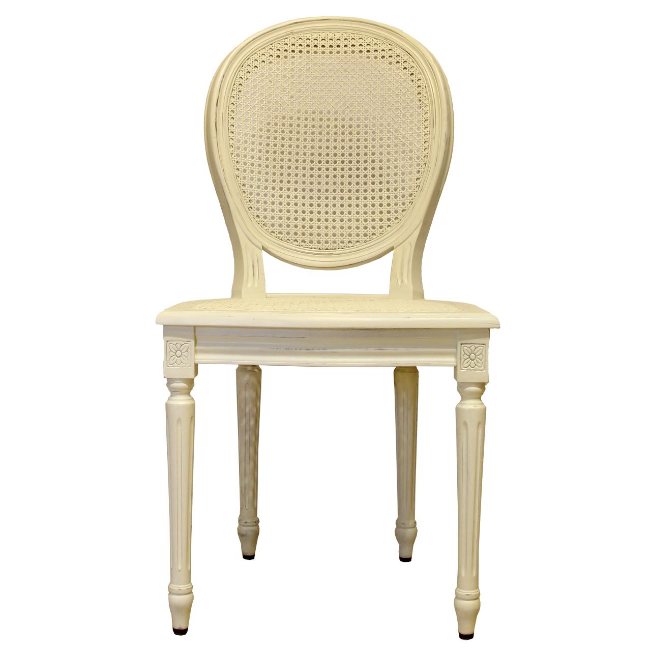 Scaun Louis din lemn crem antichizat 47x40x93 cm chicville 2021