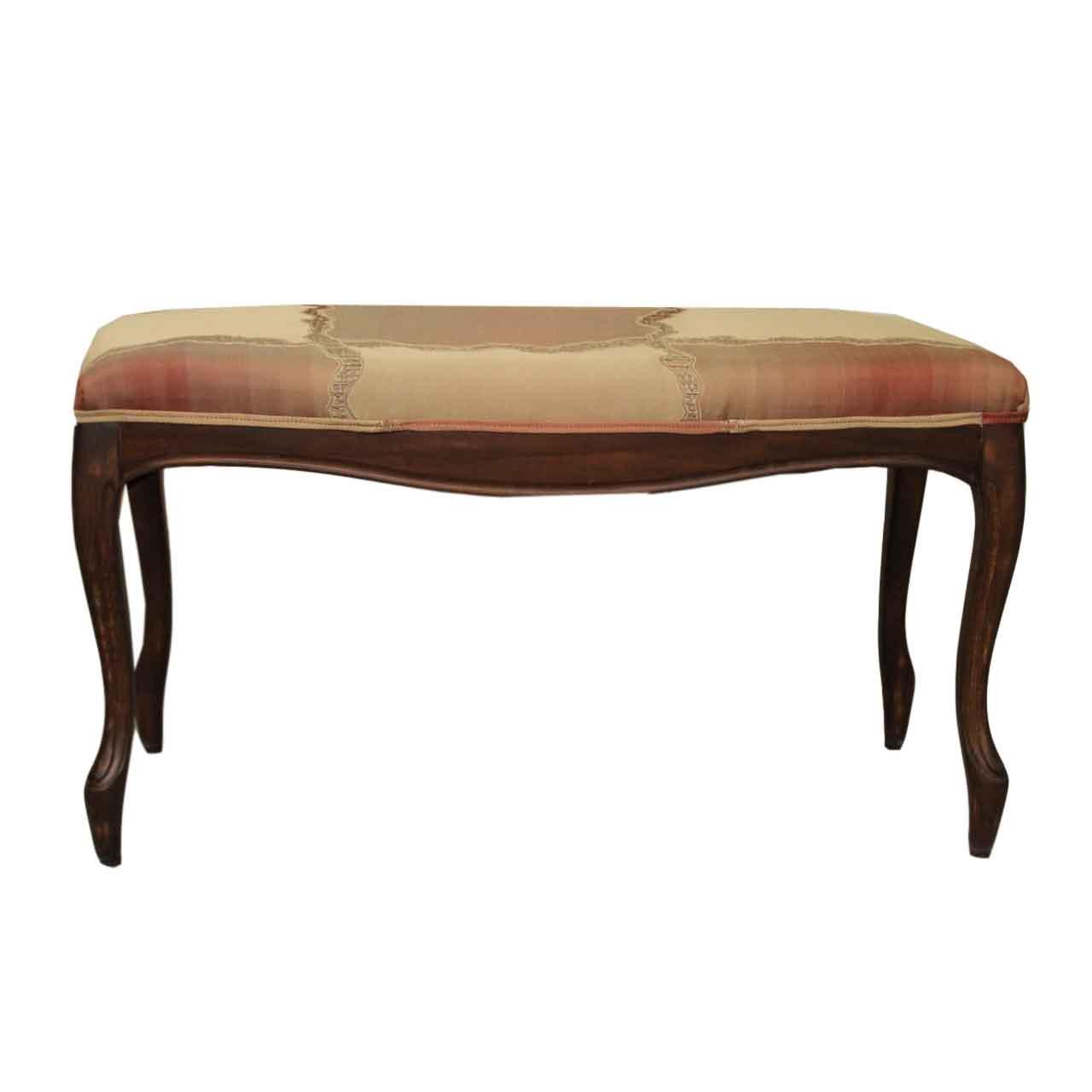 Bancheta vintage Carmen din lemn maro cu tapiterie 90x66x50 cm chicville 2021