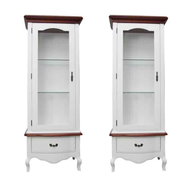 Set 2 vitrine Margot din lemn alb si maro 68x46x180 cm