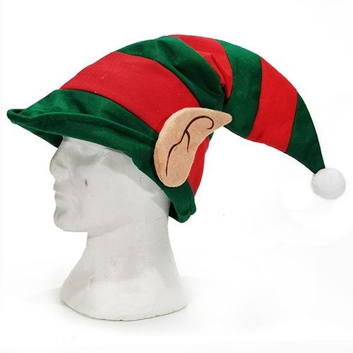 Caciula Elf din textil verde cu rosu 30x52 cm chicville 2021