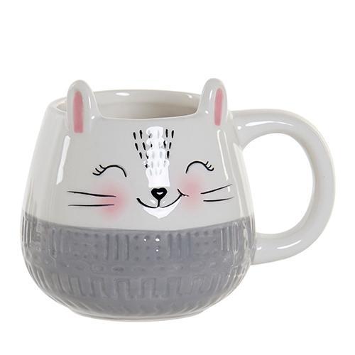 Cana Cat din ceramica alba 10 cm chicville 2021