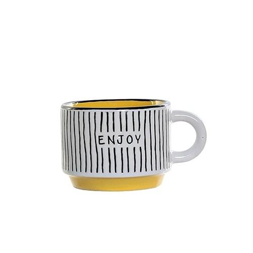 Cana Colors Enjoy din ceramica galbena 6 cm chicville 2021