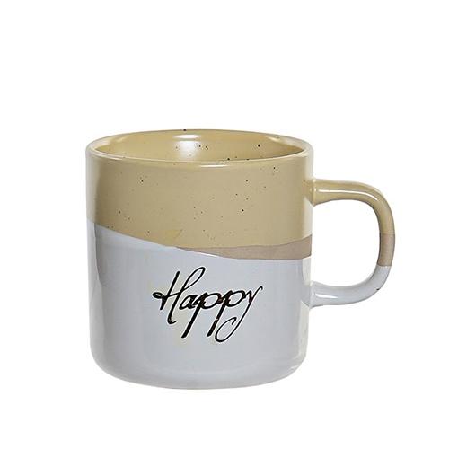 Cana Happy din ceramica galbena 9 cm chicville 2021