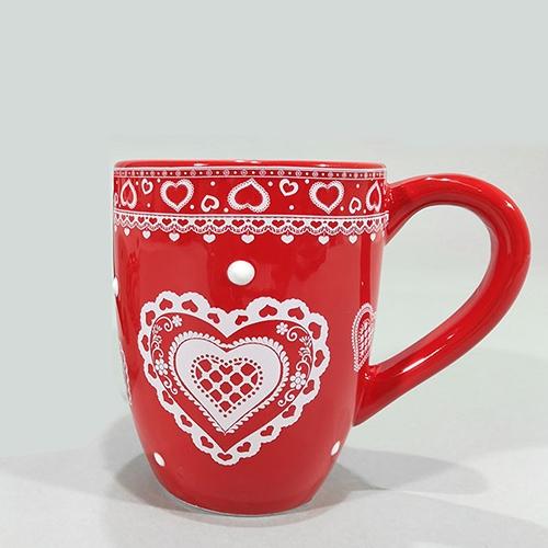 Cana Heart din ceramica rosie 10 cm chicville 2021