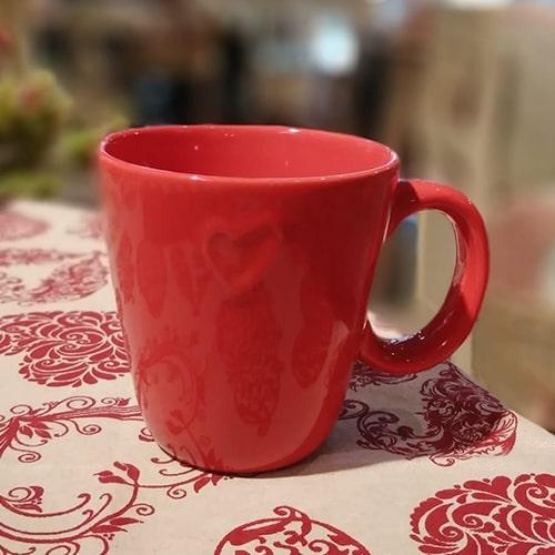 Cana Love din ceramica rosie 10cm chicville 2021