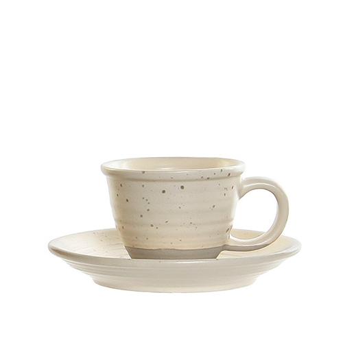 Ceasca Daily cu farfurioara din ceramica crem 5 cm chicville 2021