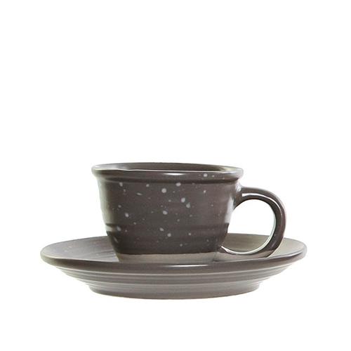Ceasca Daily cu farfurioara din ceramica gri 5 cm chicville 2021