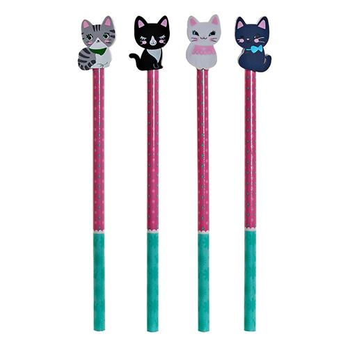 Creion Cats din lemn 20 cm - modele diverse chicville 2021