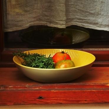 Bol duo din ceramica galbena cu verde 27 cm
